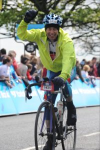 Finishing the Tour de Yorkshire Sportive in May 2015
